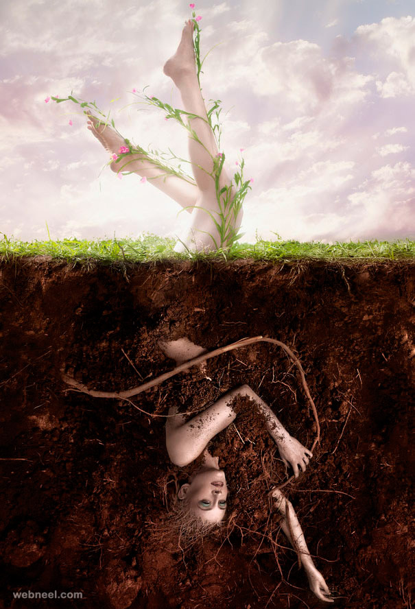woman plant photo manipulation