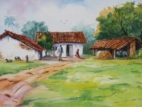 2-village-watercolor-paintings-by-balakrishnan