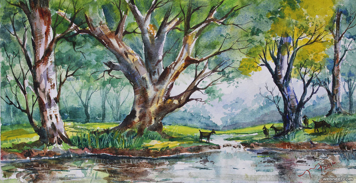 tree watercolor paintings by balakrishnan