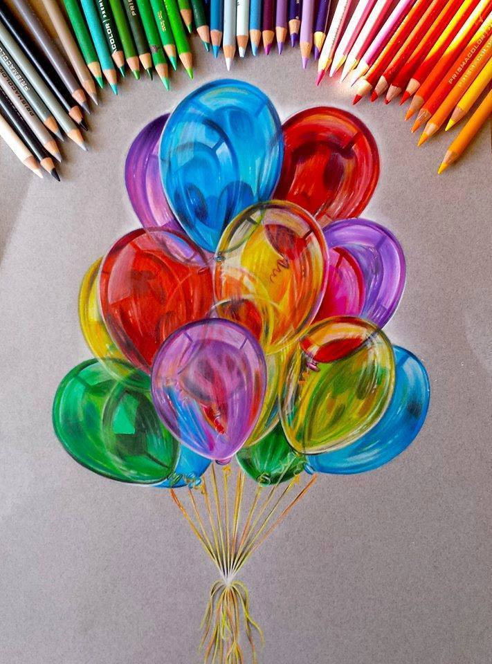 Balloon Color Pencil Drawing By Jocelyn Schmidt