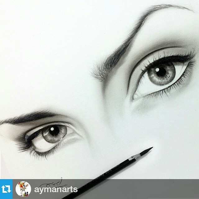 realistic eyes charcoal drawing by aymanarts