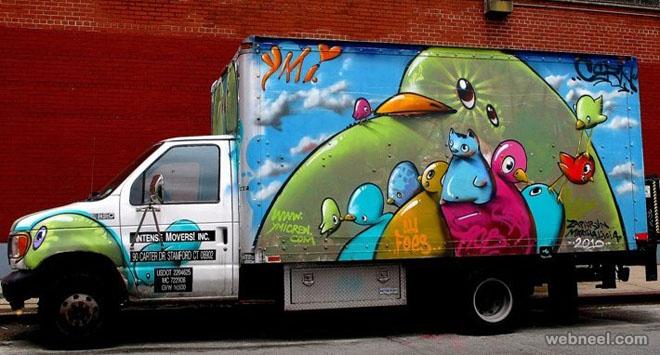 birds truck art
