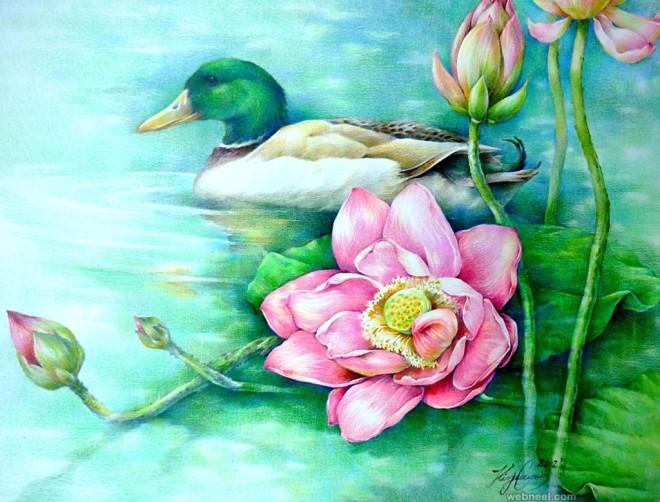 duck lotus flower painting by paintingkim