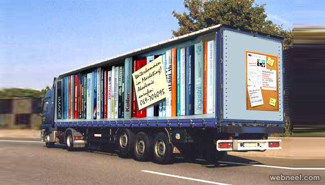 library optical illusion truck art