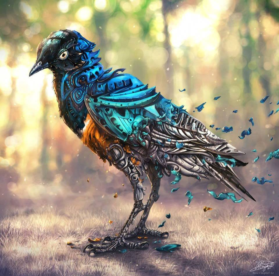 Bird Digital Painting by Rene Campbell