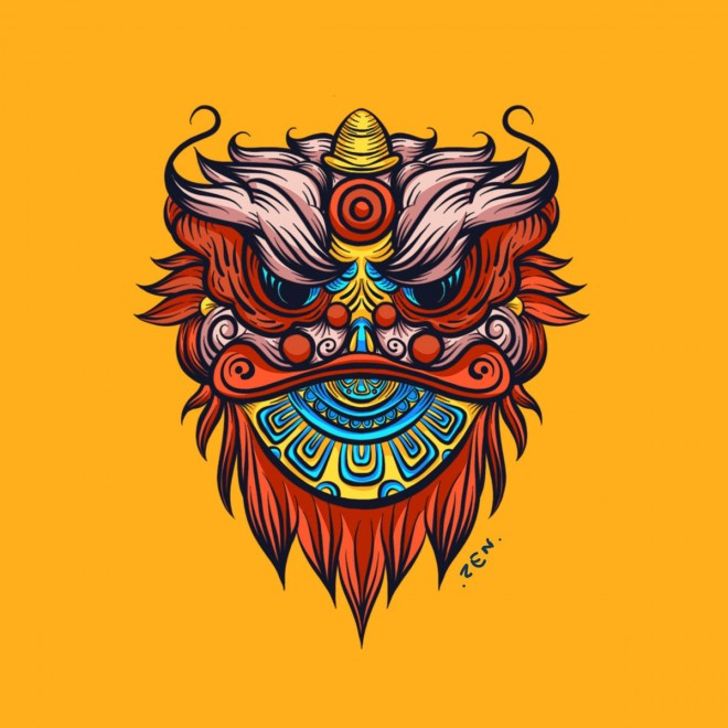 chinese lion procreate drawing app by zen makino