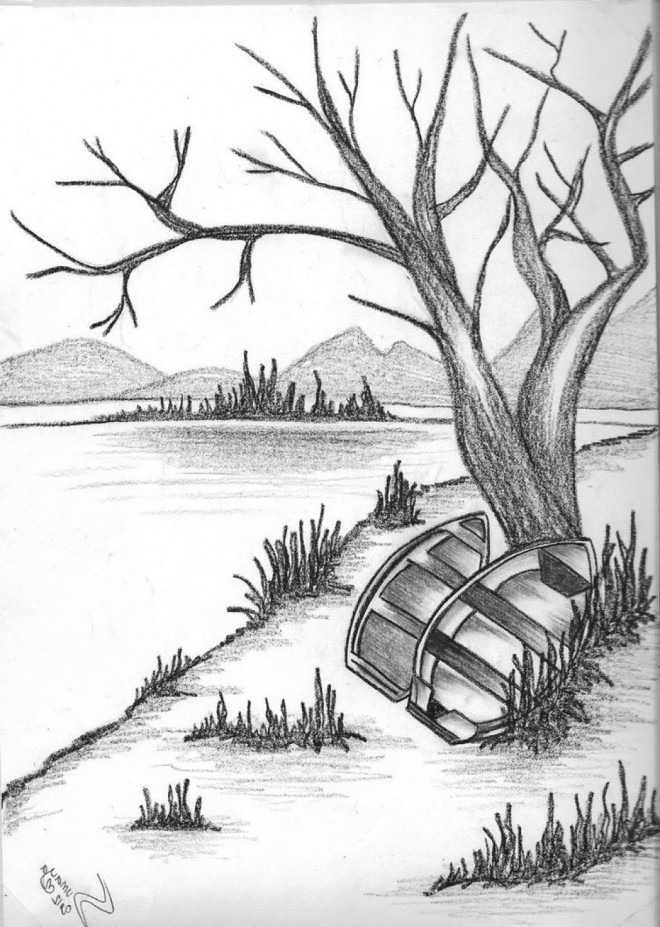 down by lake nature drawing by finn