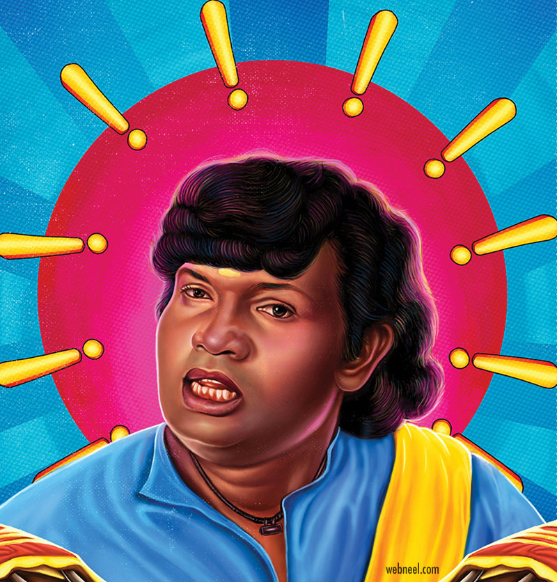 digital painting goundamani tamil comedy actor by prathoolnt