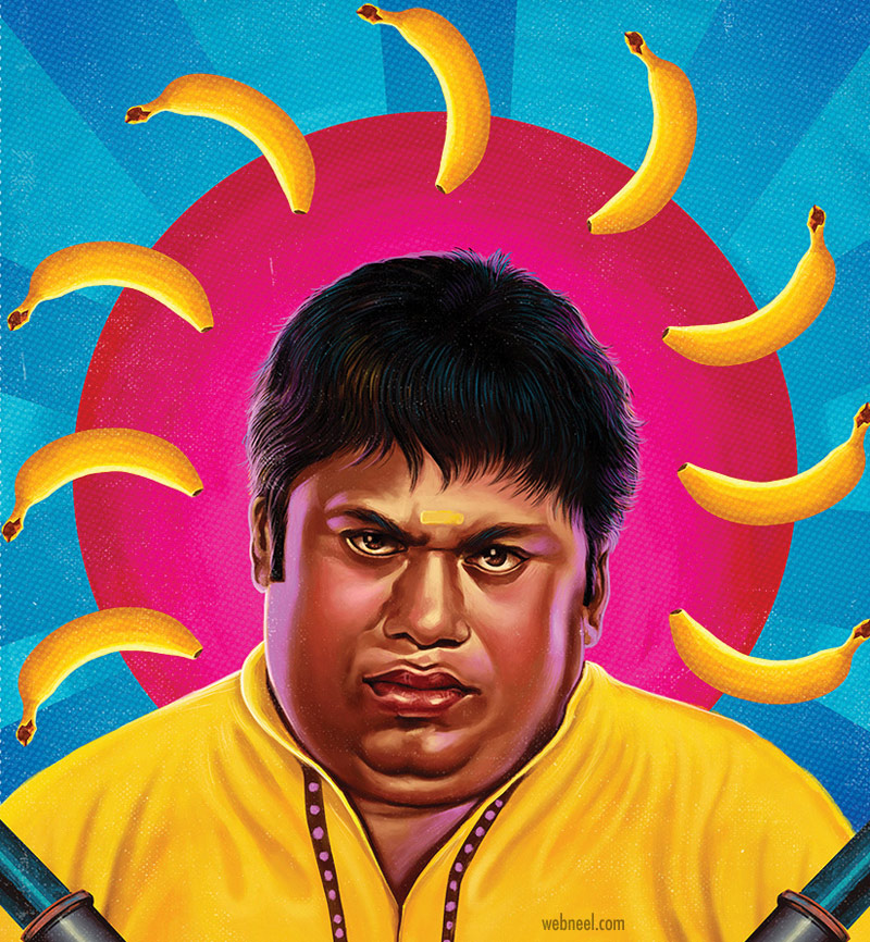 digital painting senthil tamil comedy actor by prathoolnt