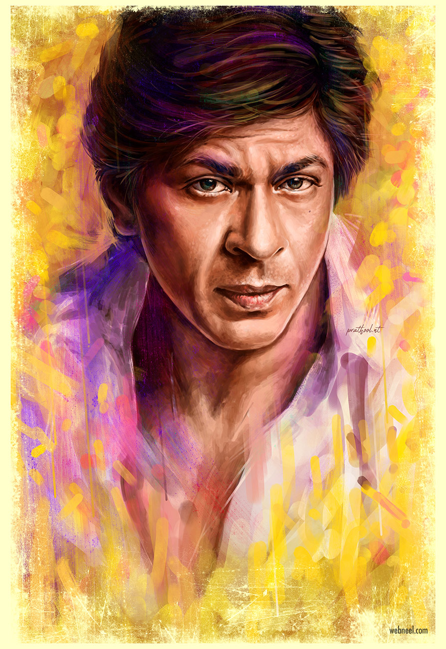digital painting shahrukh khan