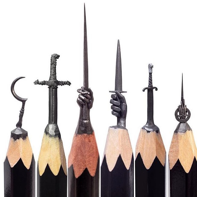 3 pencil lead carving sculpture game of thrones by lvanrem