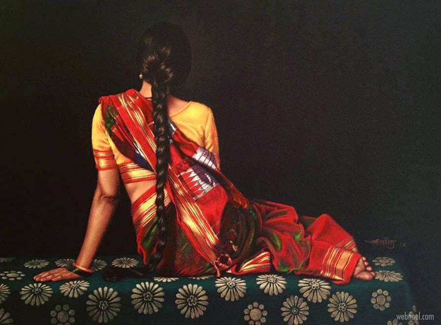 color pencil drawing indian woman saree by shashikant dhotre