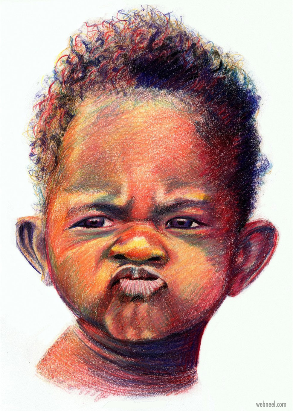color pencil drawing kid by tim brown