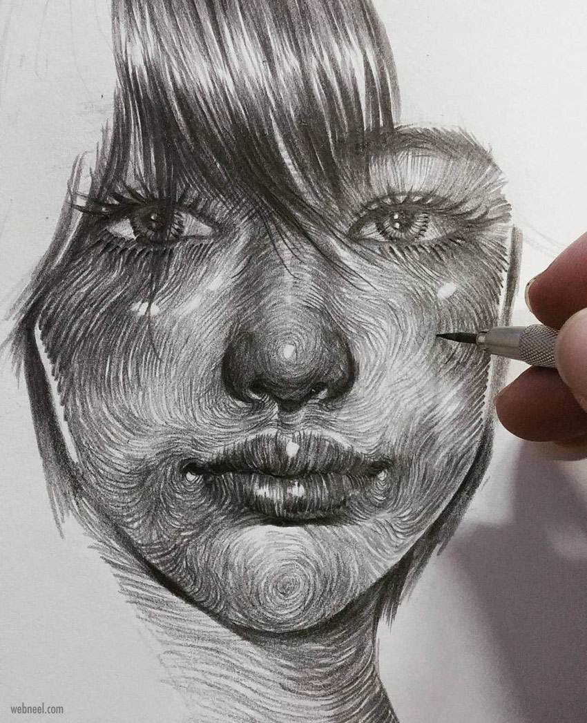 pencil drawing face woman by leekilust