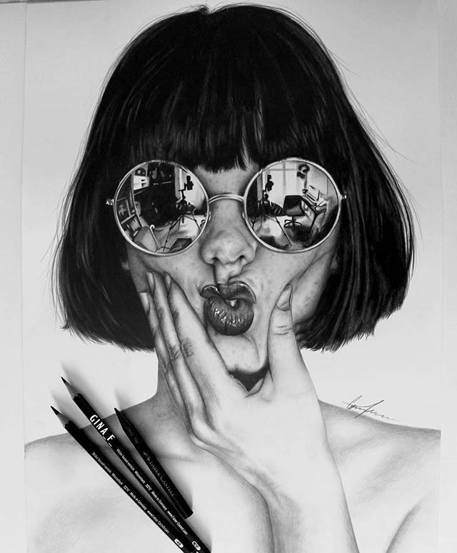 pencil drawing woman by masterpiecesofart