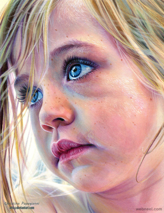 hyper realistic color pencil drawing by christina papagianni