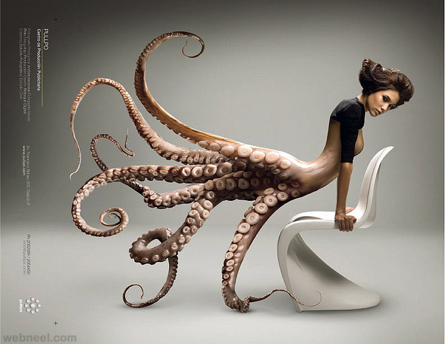 Creative And Incredible Photo Manipulation Works Done Adobe Photoshop  - Octopus Photo Manipulation