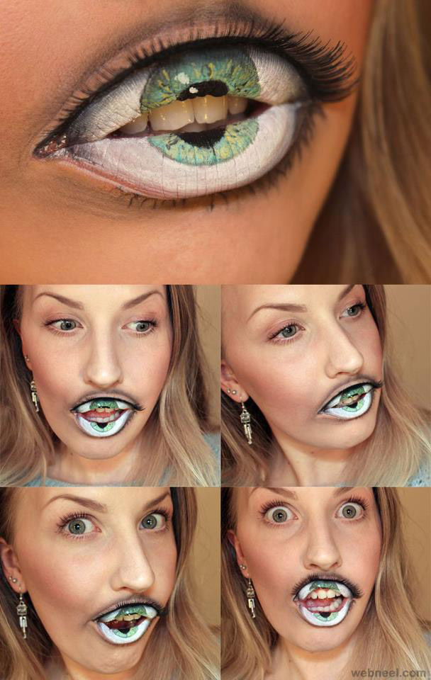 creative creepy eye lips