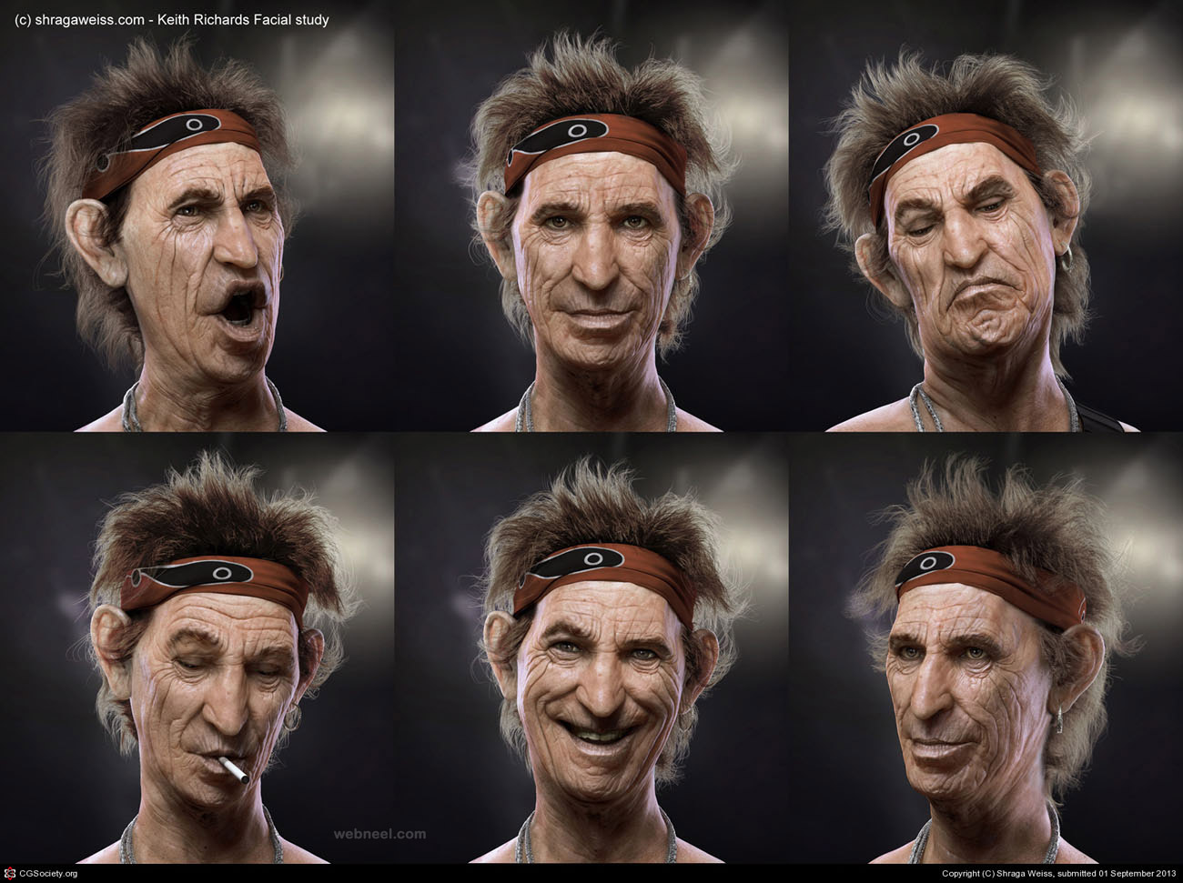 3d model face study keith richards