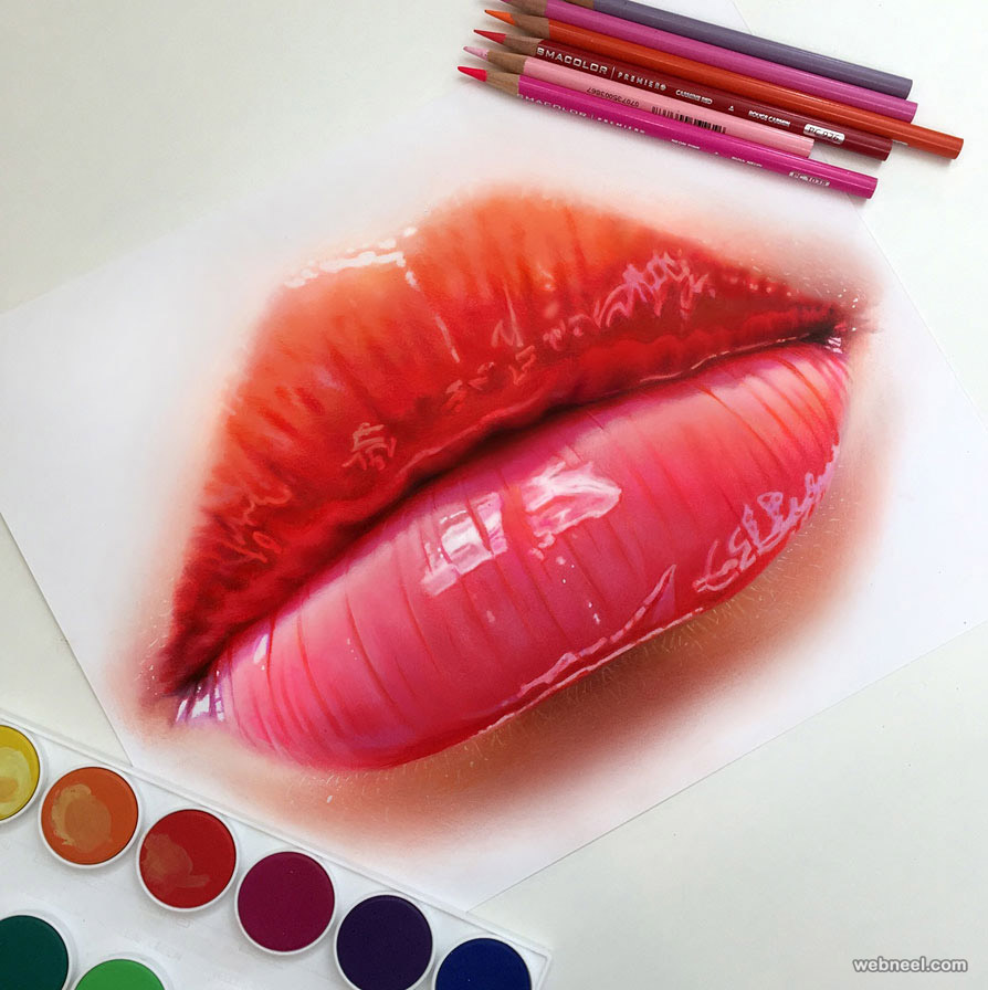 lips color pencil drawing by morgan davidson