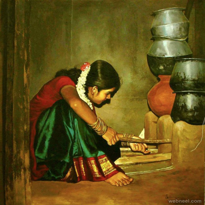 25 beautiful rural indian women paintings by tamilnadu for Best canvas painting images