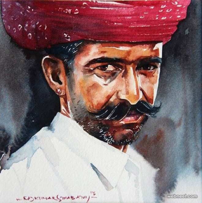 india watercolor painting by sthabathy