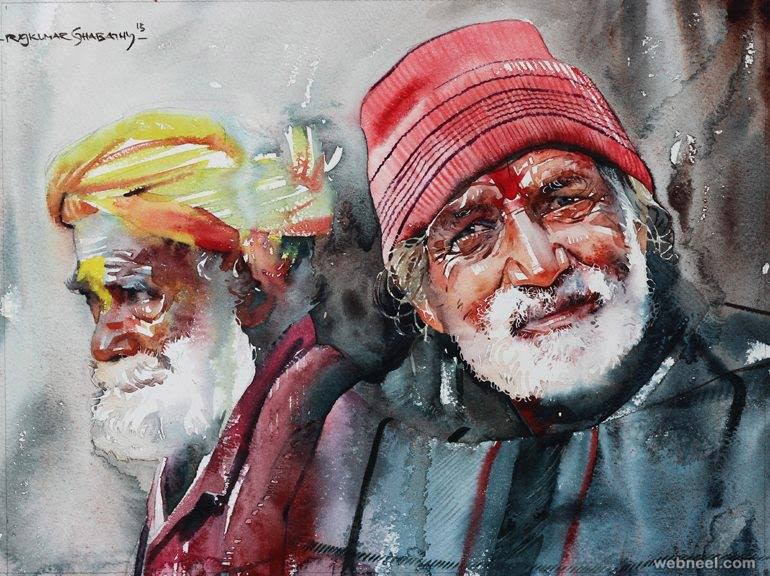 kumbh mela watercolor painting