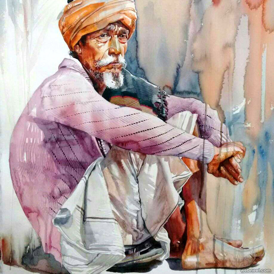 indian watercolor painting by sthabathy