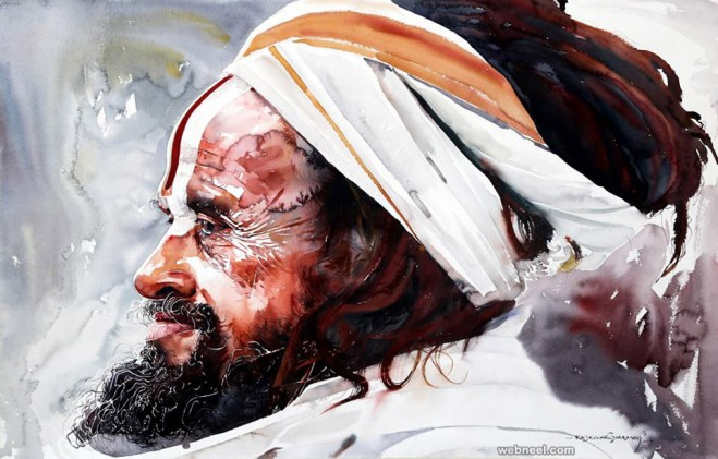 kumbh mela watercolor painting