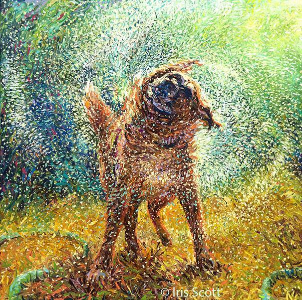 2 dog painting by Iris Scott 8