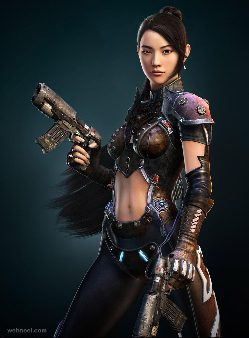 girl gun 3d model by seokchanyoo
