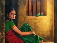 3-realistic-tamil-woman-painting-by-ilayaraja