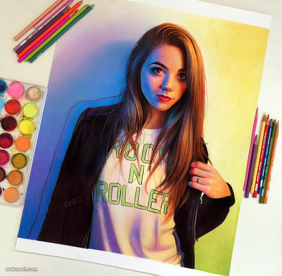 Girl color pencil drawing color pencil drawing