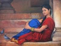 5-realistic-tamil-woman-painting-by-ilayaraja