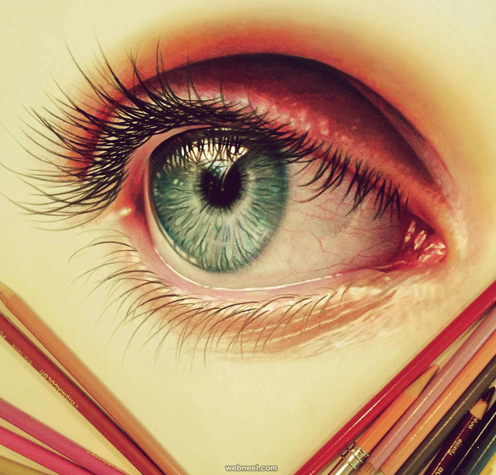 Eye color pencil drawing color pencil drawing