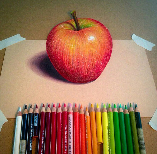 Apple color pencil drawing by williehsu
