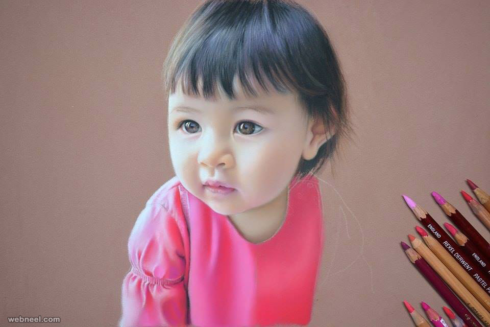 Baby color pencil drawing by ericjean pouillet