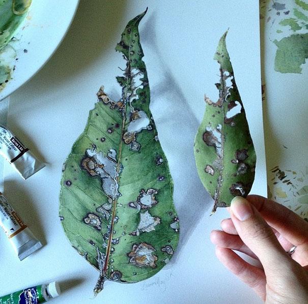 leaf realistic painting by lauren may sahu khan
