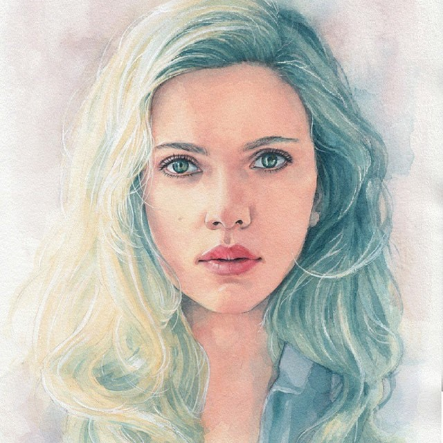 woman watercolor painting by hectortrunnec