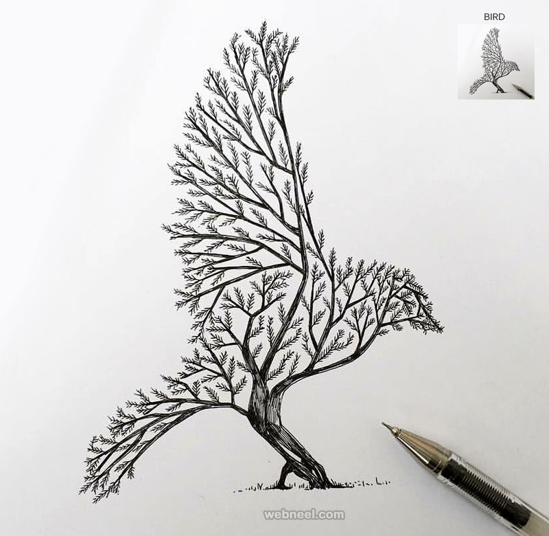 Genial Tree Drawing Bird Tattoo By Alfredbasha