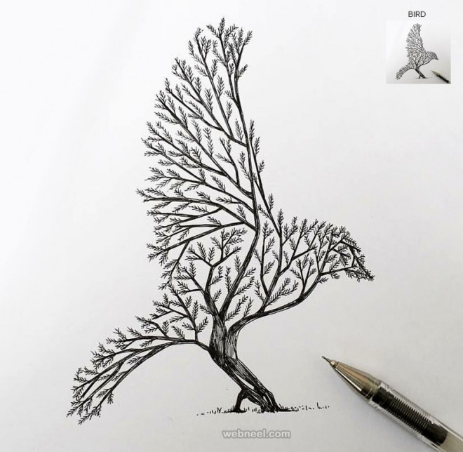 tree drawing bird tattoo