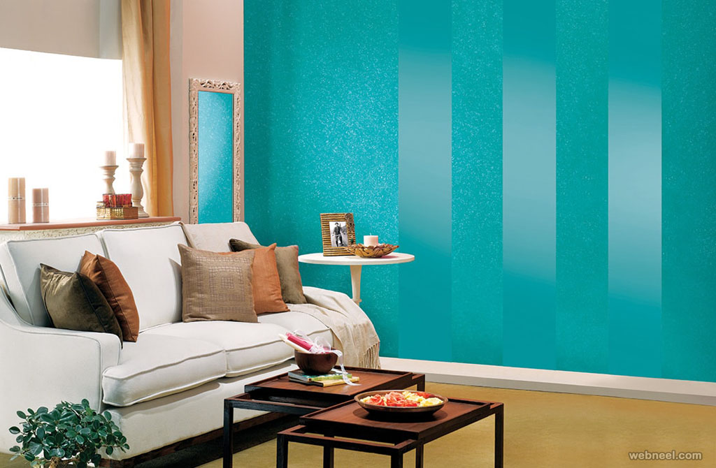 50 beautiful wall painting ideas and designs for living for Blue wall living room ideas