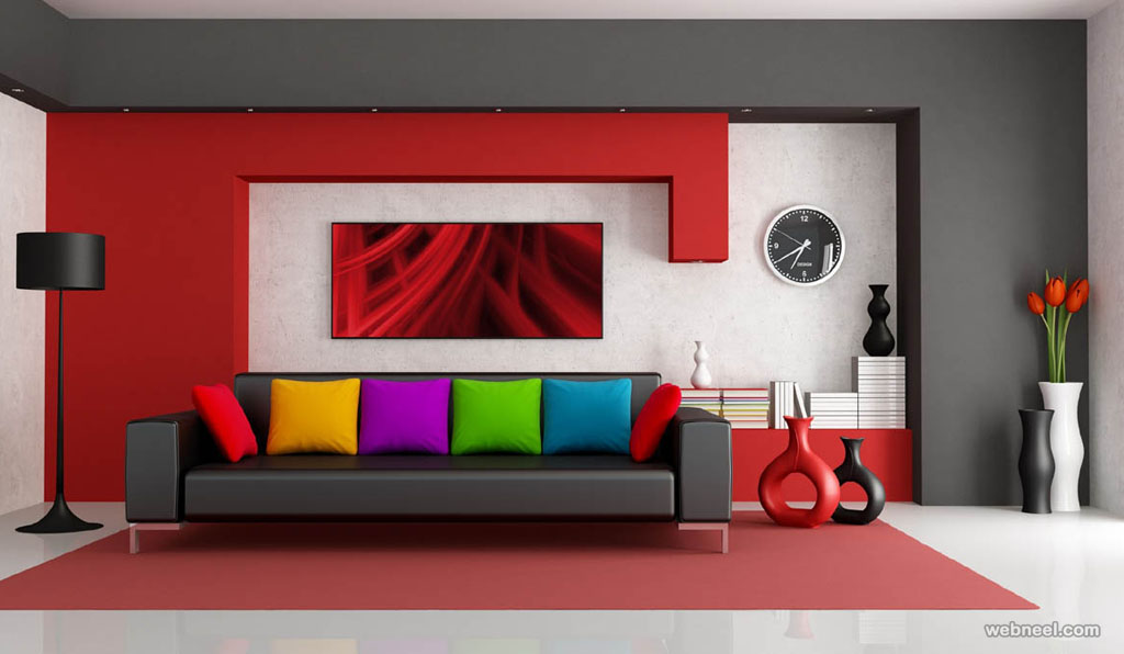 red living room wall paint ideas - Designs For Room Walls