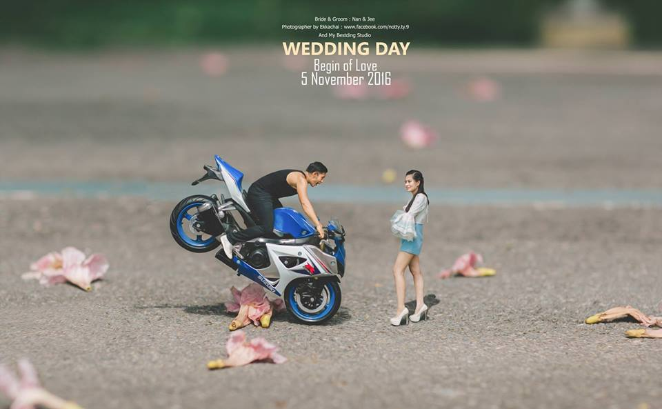 bike wedding photography idea by ekkachai