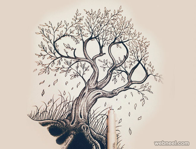 30 beautiful tree drawings and creative art ideas from top for Creative paintings pictures