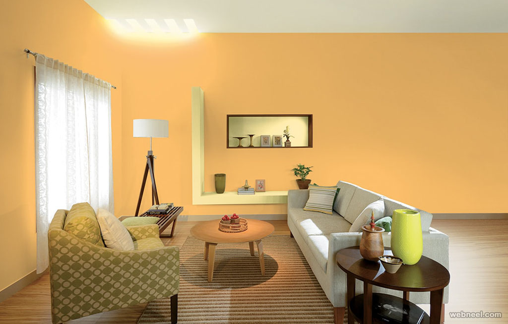 50 beautiful wall painting ideas and designs for living for Yellow painted rooms