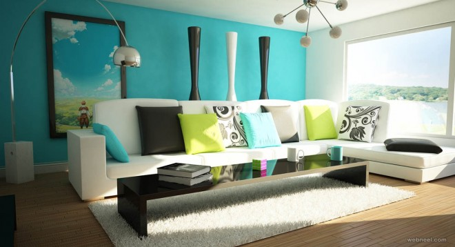 Blue Interior Design Model 50 beautiful wall painting ideas and designs for living room