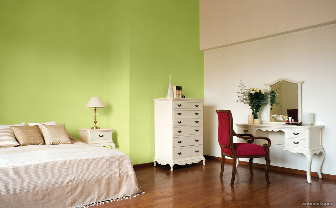 50 beautiful wall painting ideas and designs for living for Bedroom paint ideas green