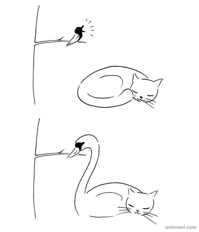 cat funny drawings by shanghai tango