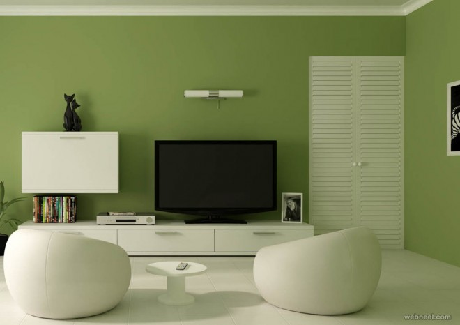 ... green living room wall paint ideas